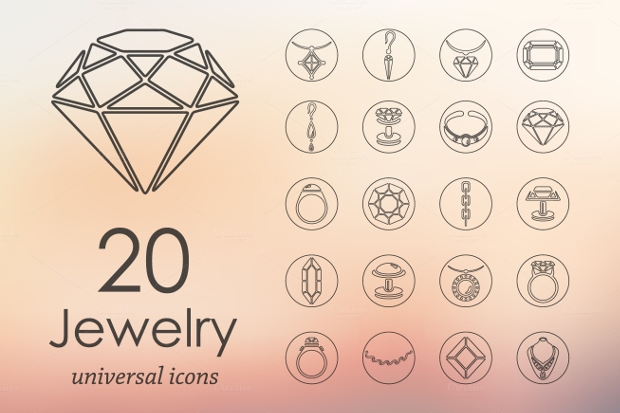 elegant jewelry icons set