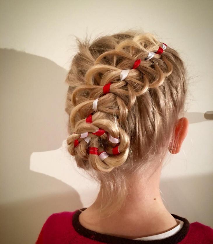 loop braid updo hairstyle for kids