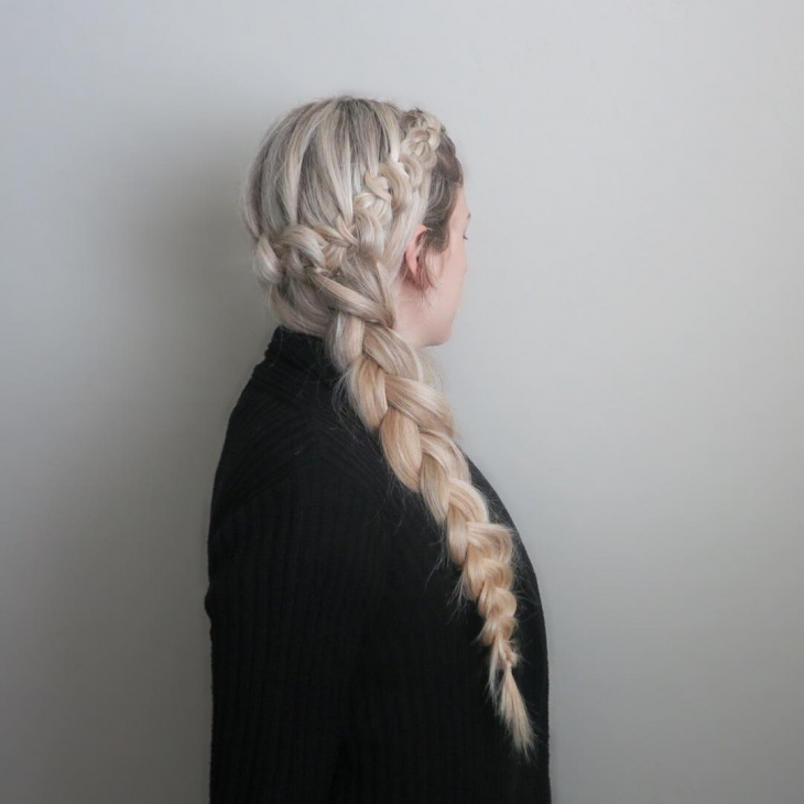 loop braid hairstyle for blonde hair