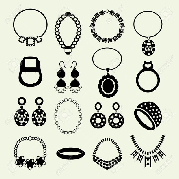 women jewelry icon set