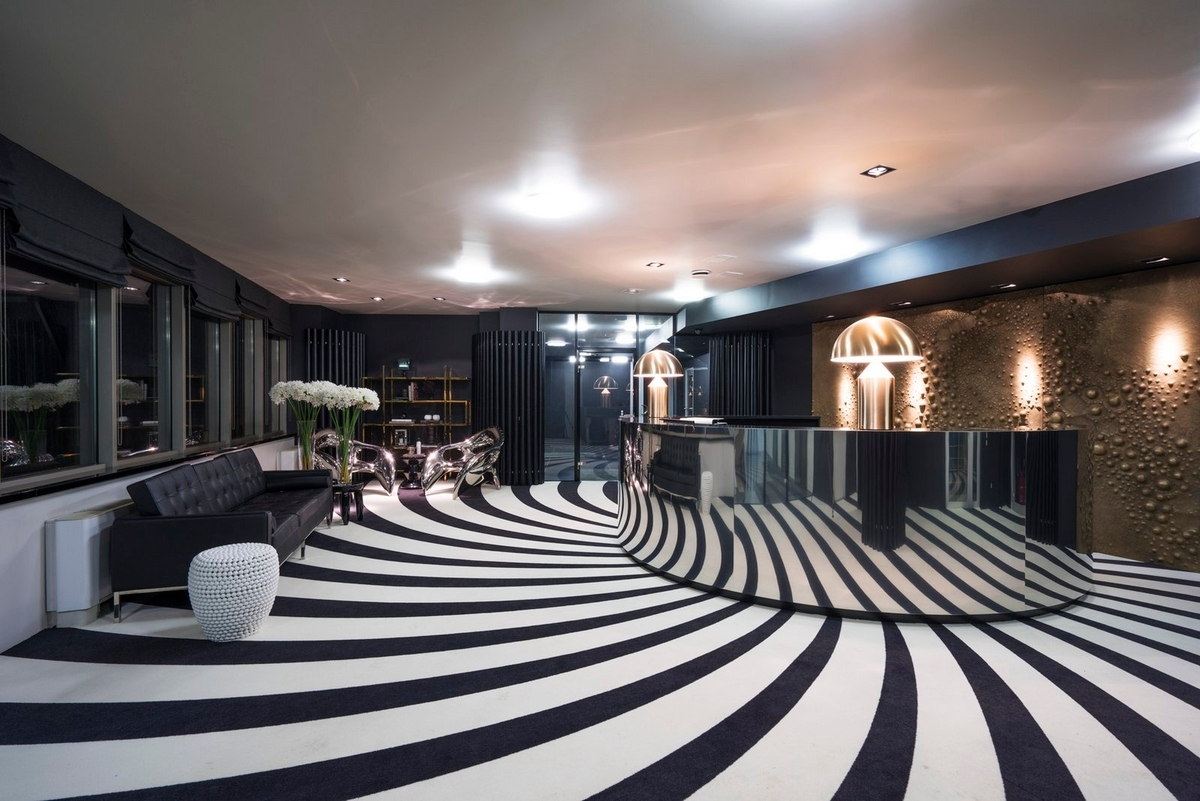 black and white flooring lobby