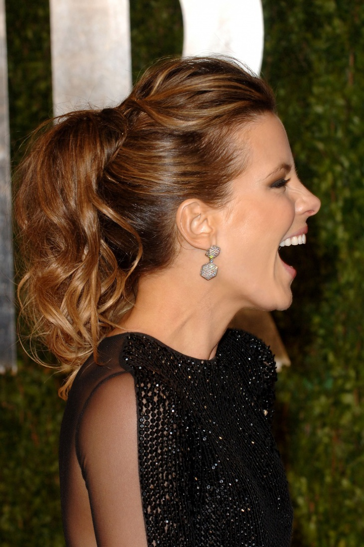 kaye beckinsale messy curly ponytail haircut