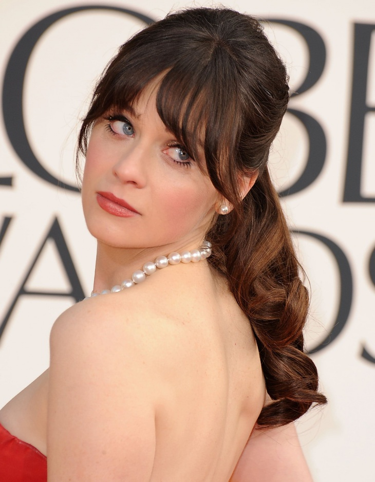 Zooey Deschanel Curly Ponytail with Bangs