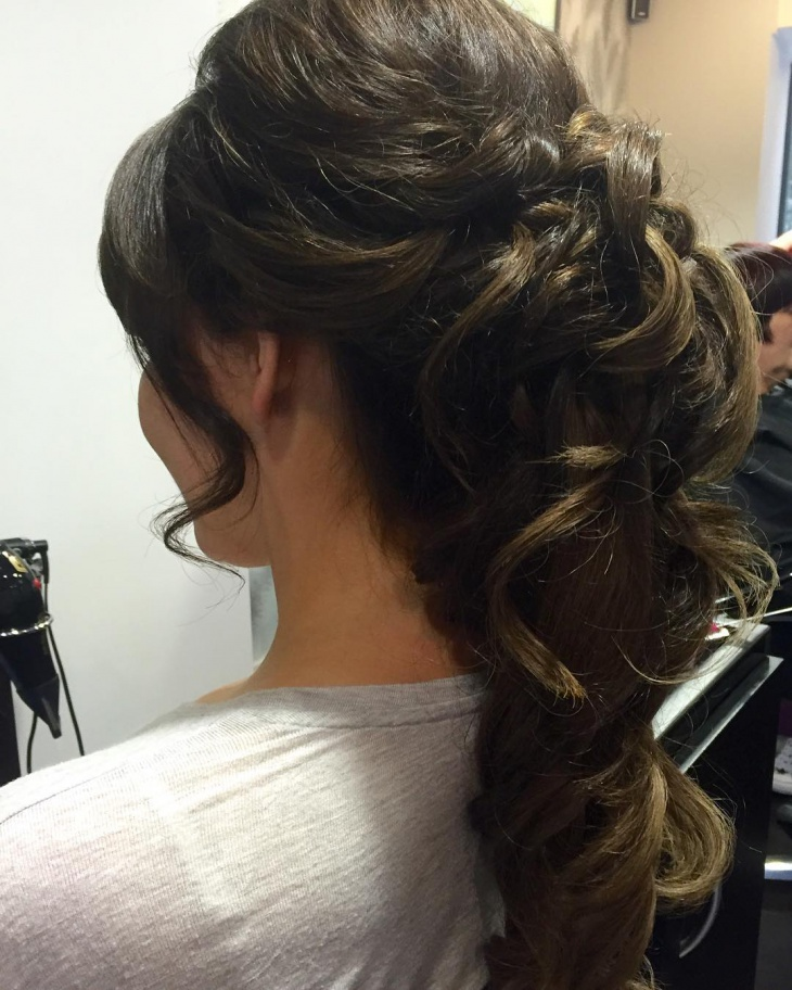 wedding braid curly ponytail