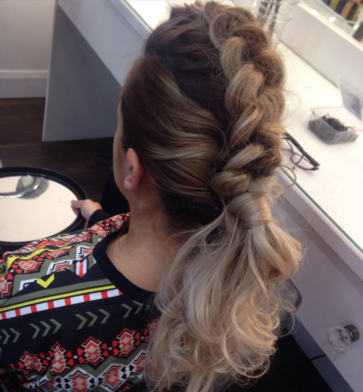 French Braid Curly Ponytail