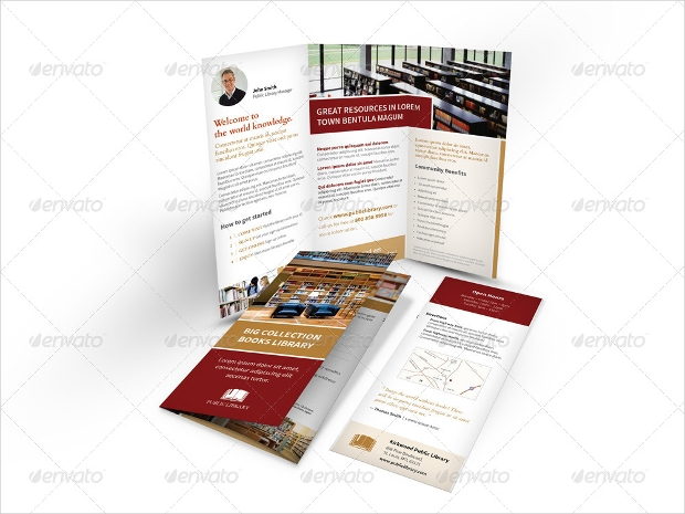 trifold library brochure design