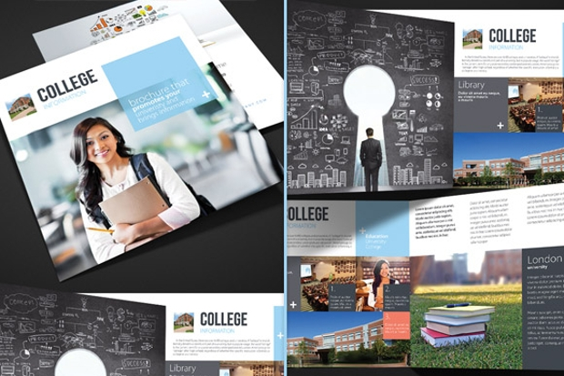 15 library brochures psd ai indesign vector eps for College brochure templates free download