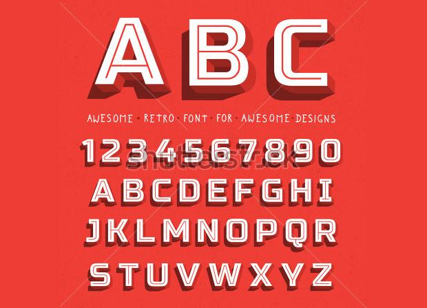 3d retro font