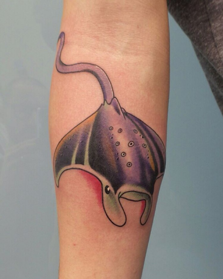 Color Stingray Tattoo on Wrist