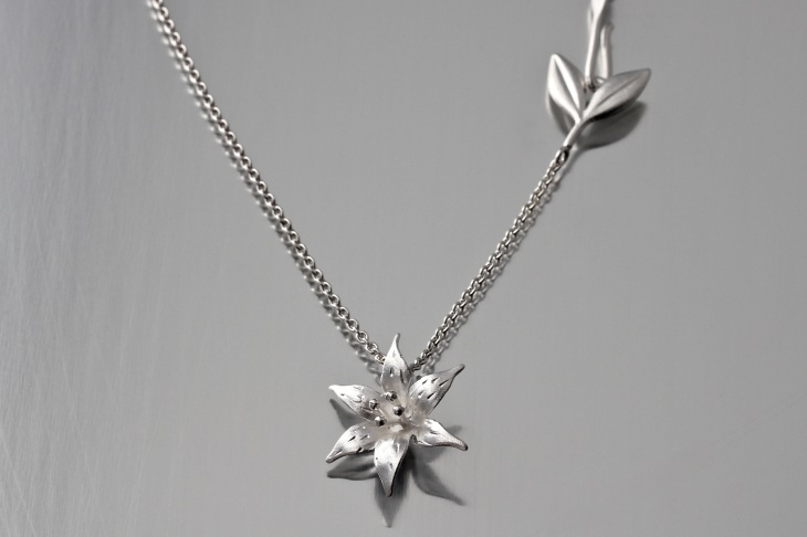 Sterling Silver Lily Pendant Necklace