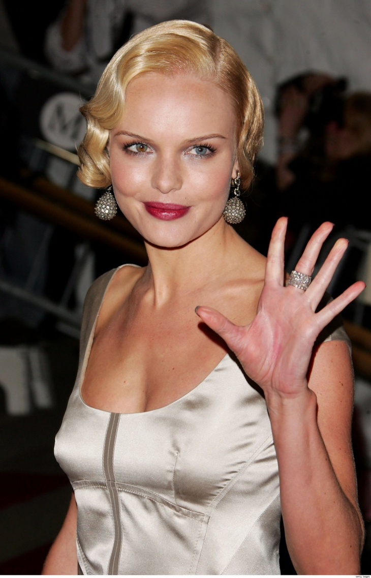 kate bosworth blonde finger wave hair