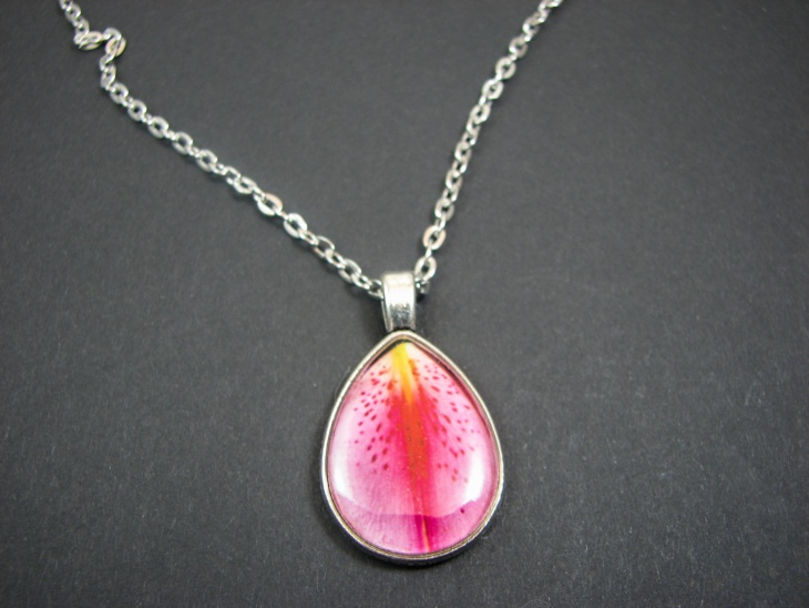 pink lily pendant necklace