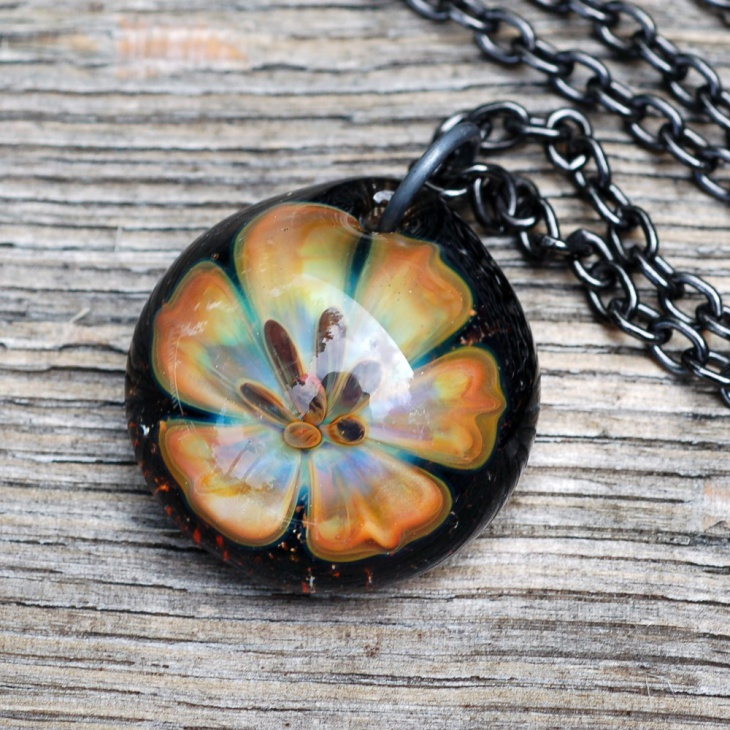 Glass Lily Implosion Pendant