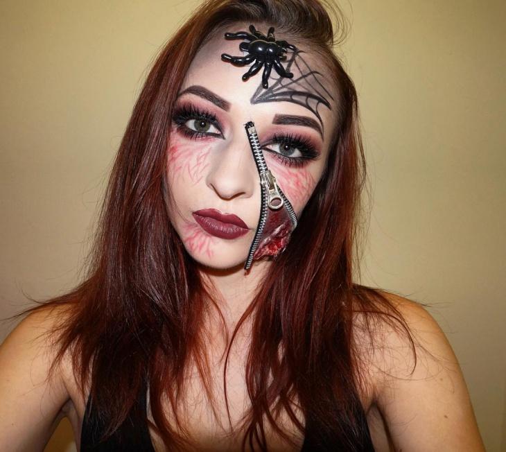 zipper spider makeup idea