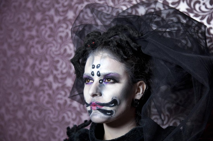 black and white spider makeup