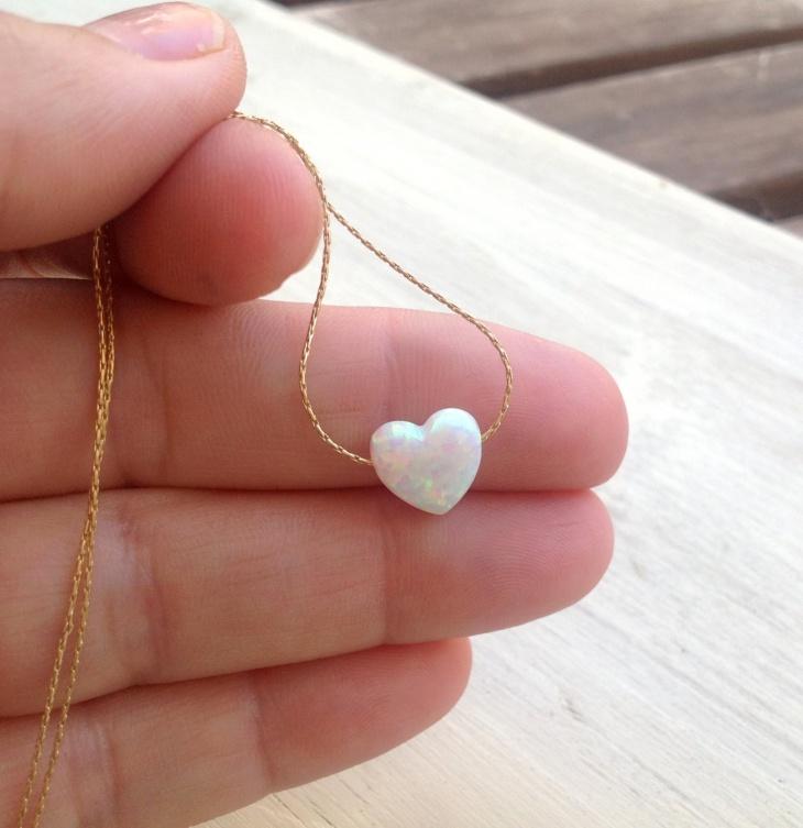 Pretty Opal Heart Pendant