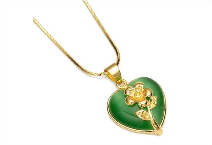 Yellow Gold Opal Heart Pendant