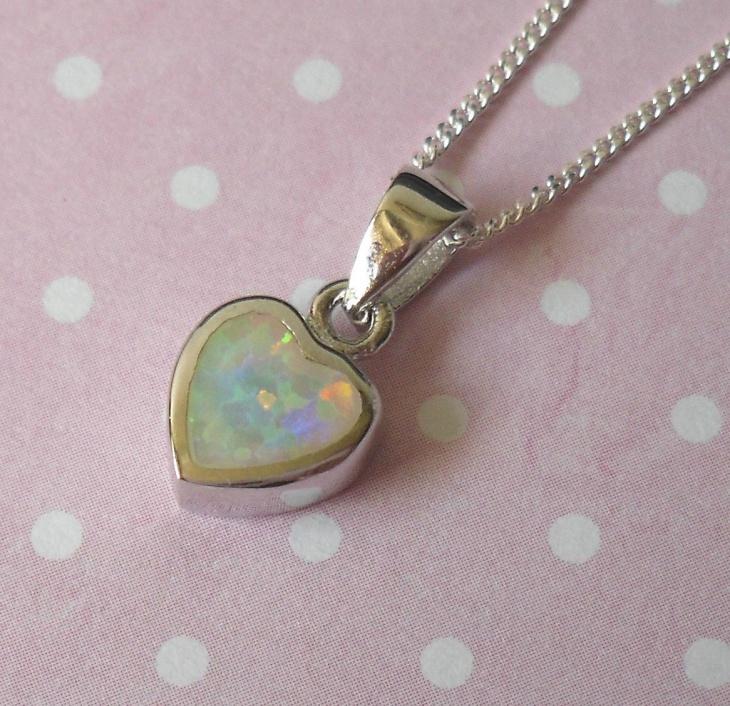 Opal Heart Pendant Chain