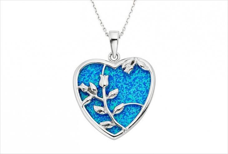 Metal Opal Heart Pendant