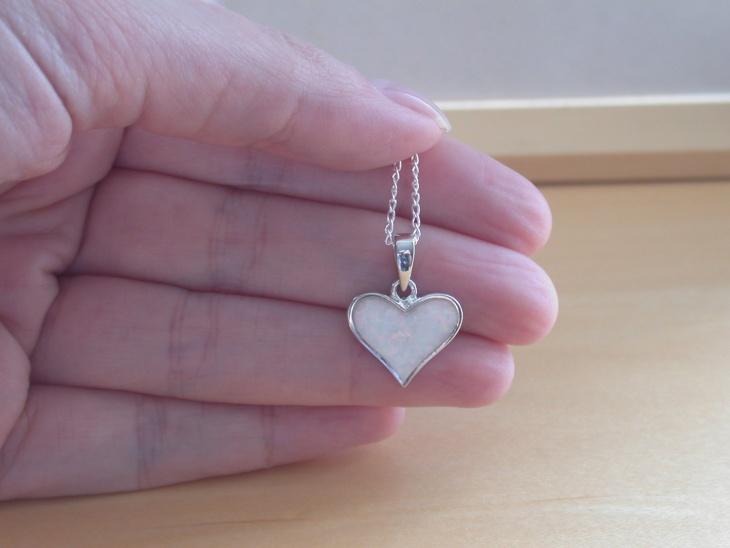 White Opal Heart Pendant