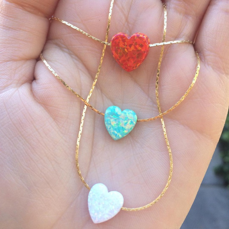 cute opal heart pendants