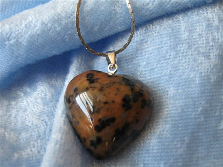 brown opal heart pendant