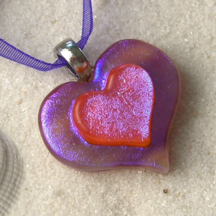 Purple and Red Opal Heart Pendant