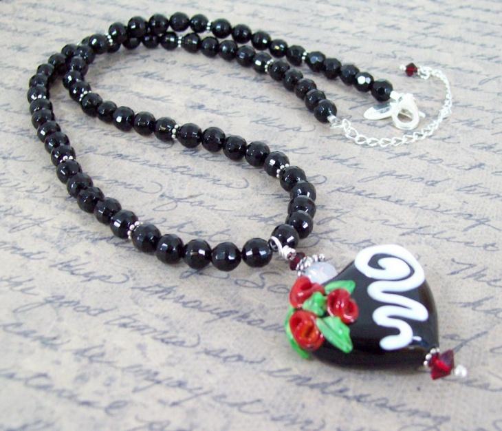 Black Opal Heart Pendant Necklace