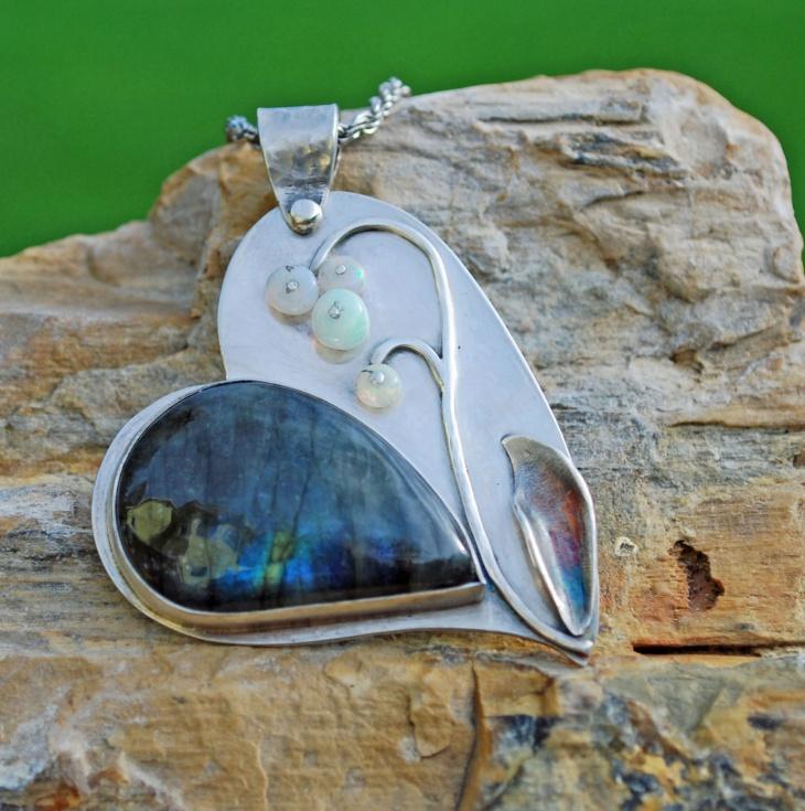 Silver Opal Heart Pendant
