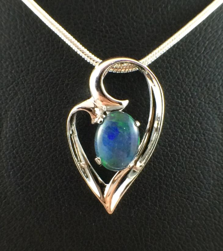 Unique Opal Heart Pendant
