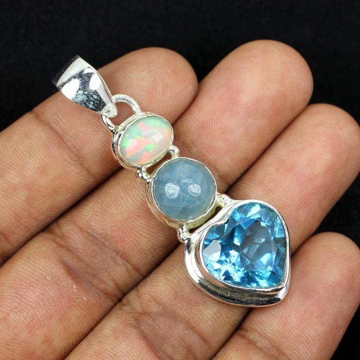 Opal Heart Shape Pendant