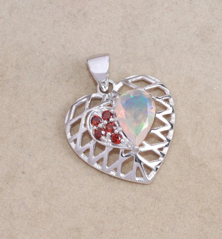 Beautiful Opal Heart Pendant