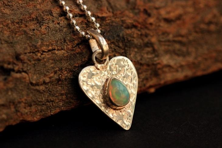 Birthstone Opal Heart Pendant