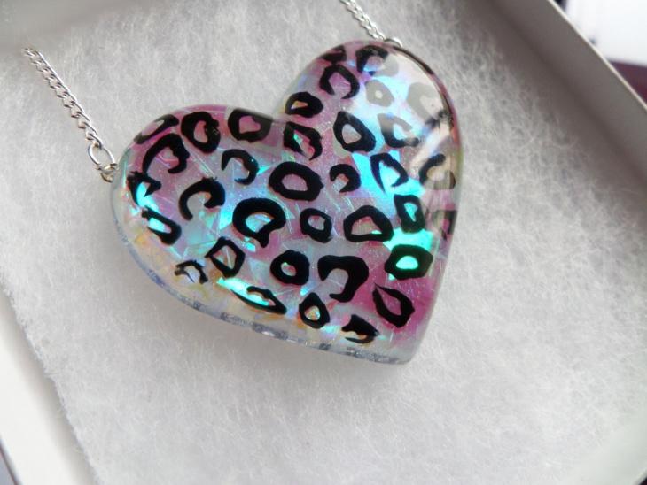 Leopard Print Opal Heart Pendant