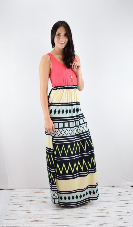 Aztec Coral Maxi Dress