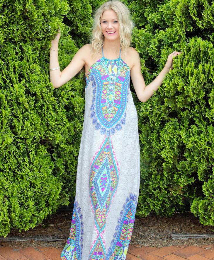 Aztec Print Prom Dress