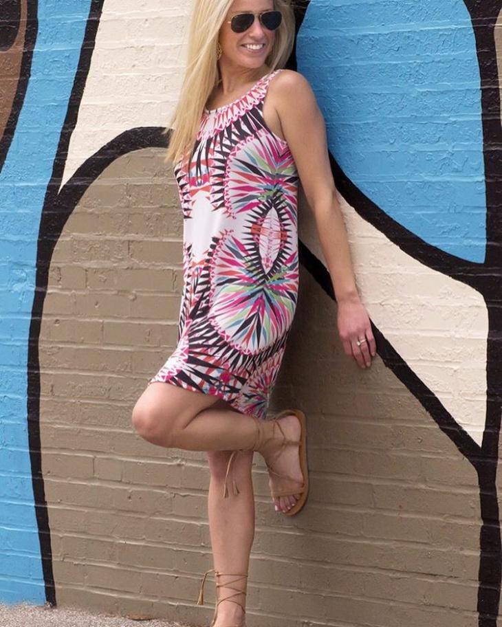 Geometric Print Dress for Women