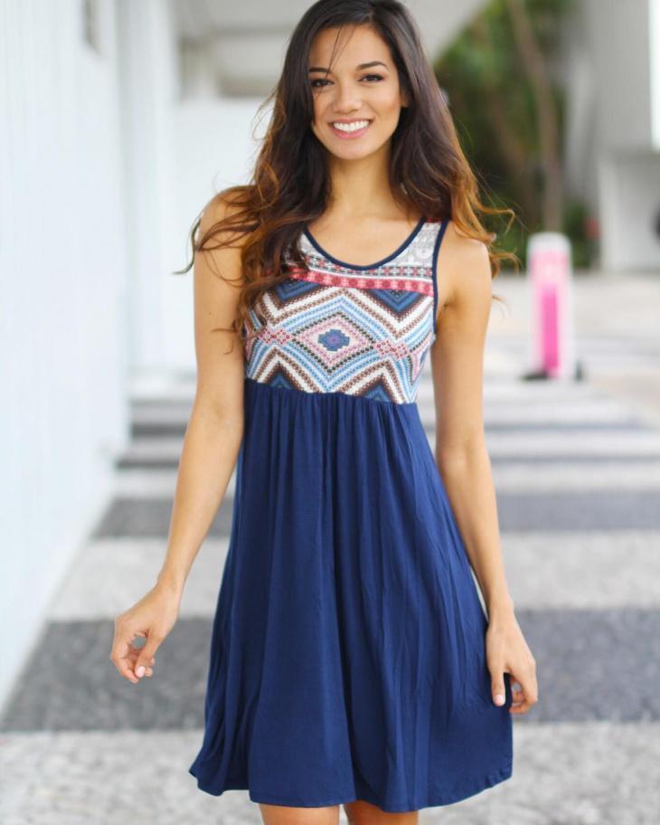 Navy Blue Aztec Dress