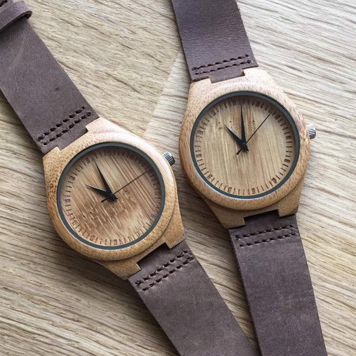 Brown Leather Bamboo Watch