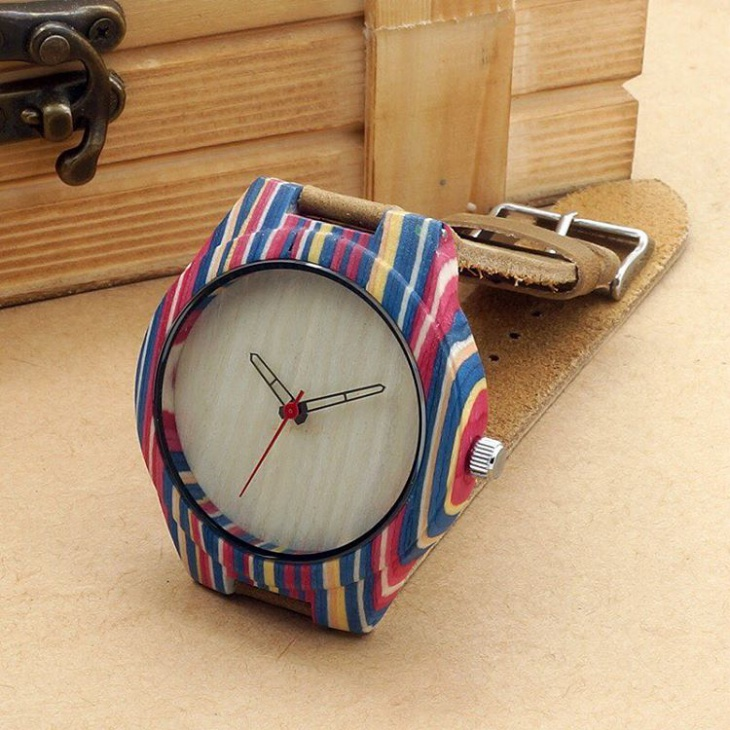 Colorful Bamboo Dial Watch