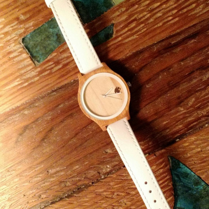 White Belt Bamboo Watch Design