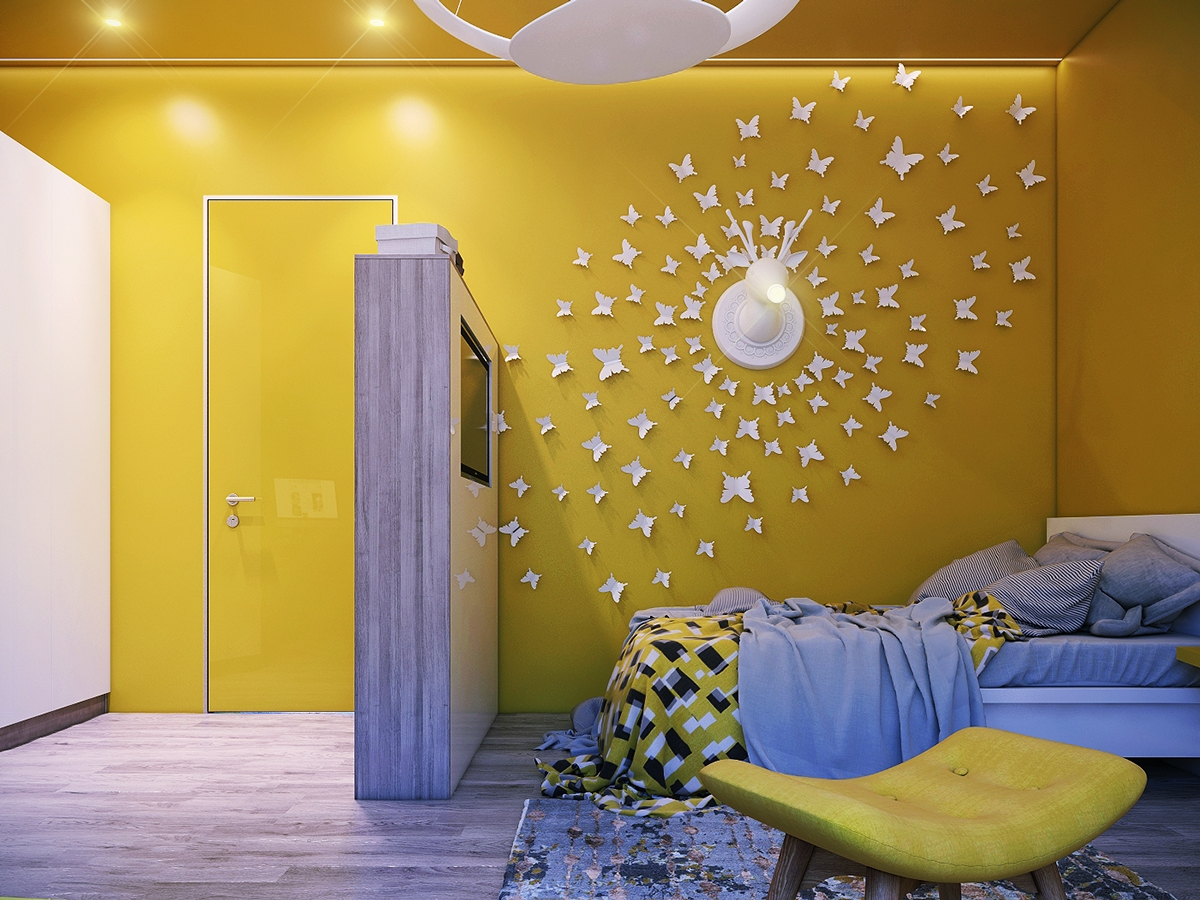 Modern bedroom wall decorating ideas - Contemporary Kids Bedroom Wall