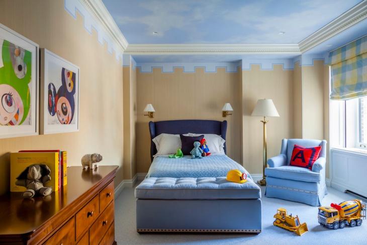 Transitional Kids Bedroom Wall Design