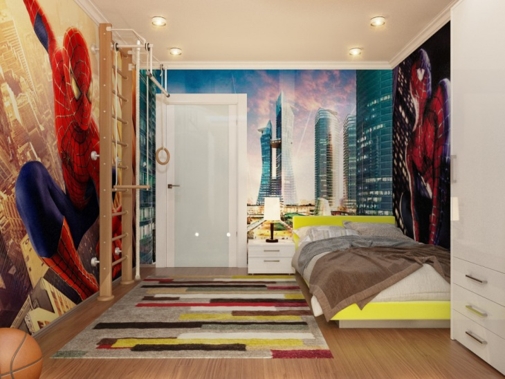 kid bed spiderman wall mural