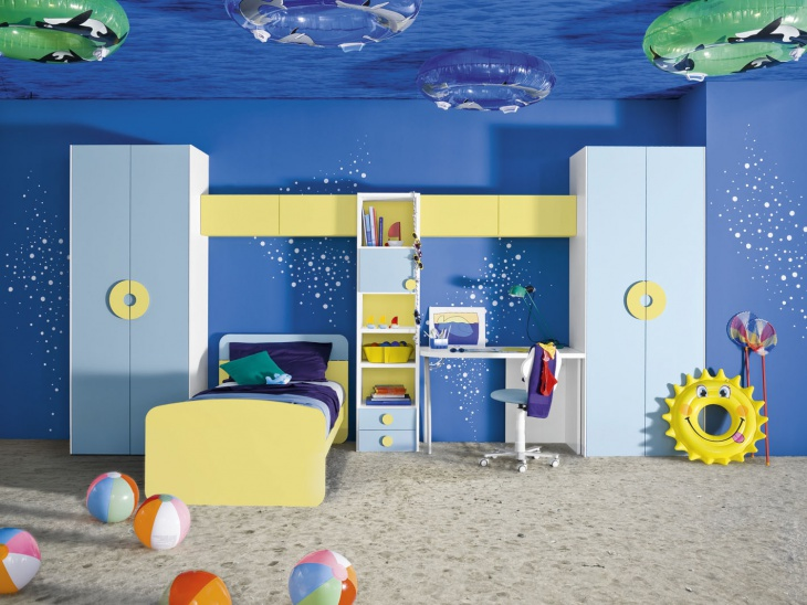 ocean theme kids bedroom wall design
