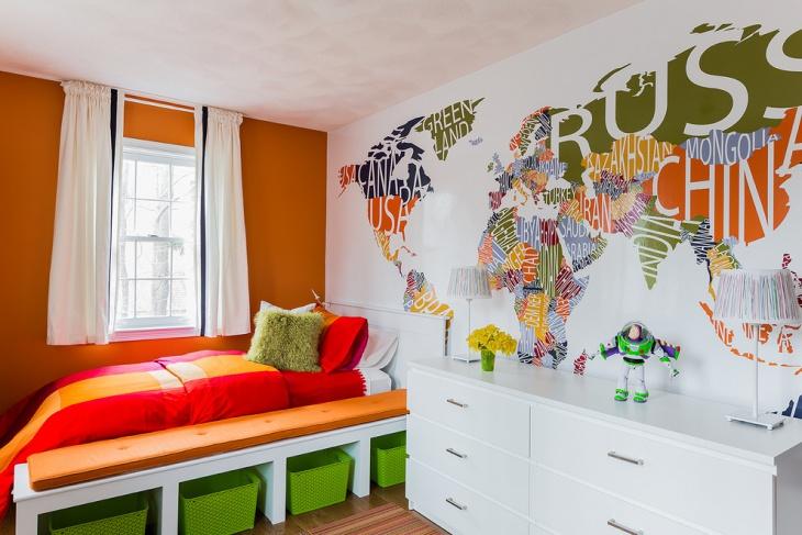 Kids Bedroom Worldmap Wall