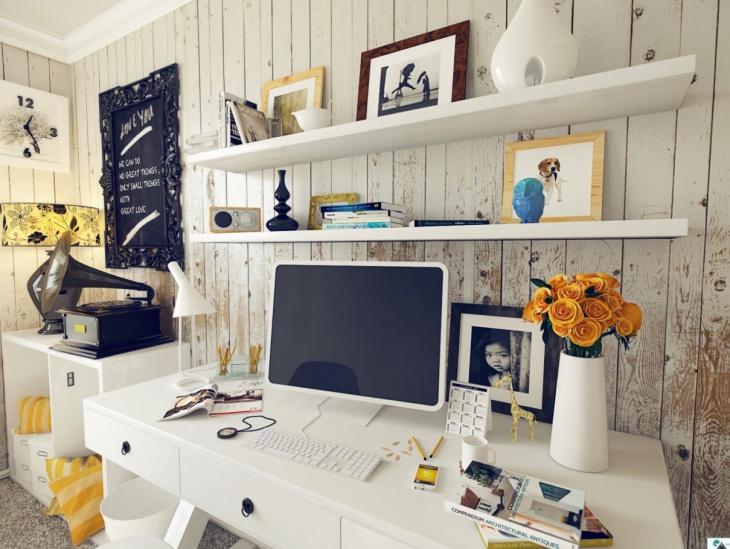 White Minimalist Computer Desk