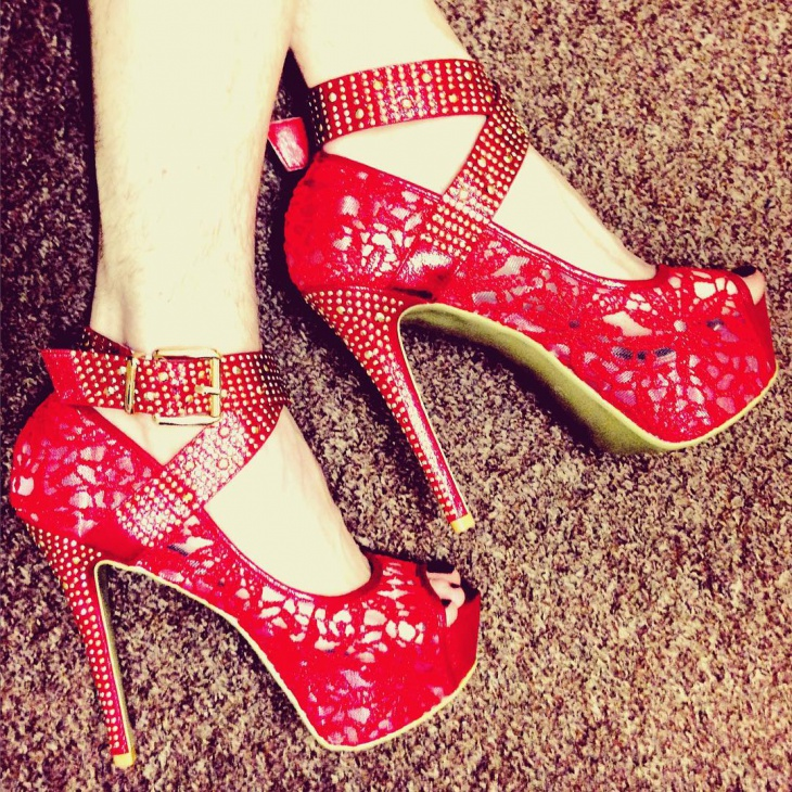 Red Color Peep Toe Shoes