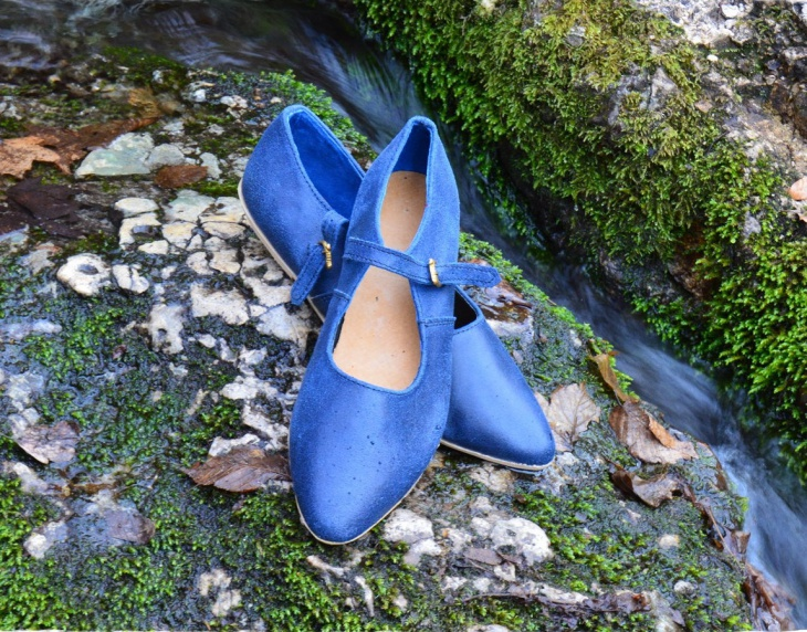 Blue Leather Fantasy Shoes