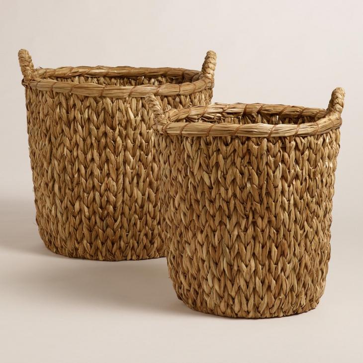 10. Natural Seagrass Leona Hamper Basket